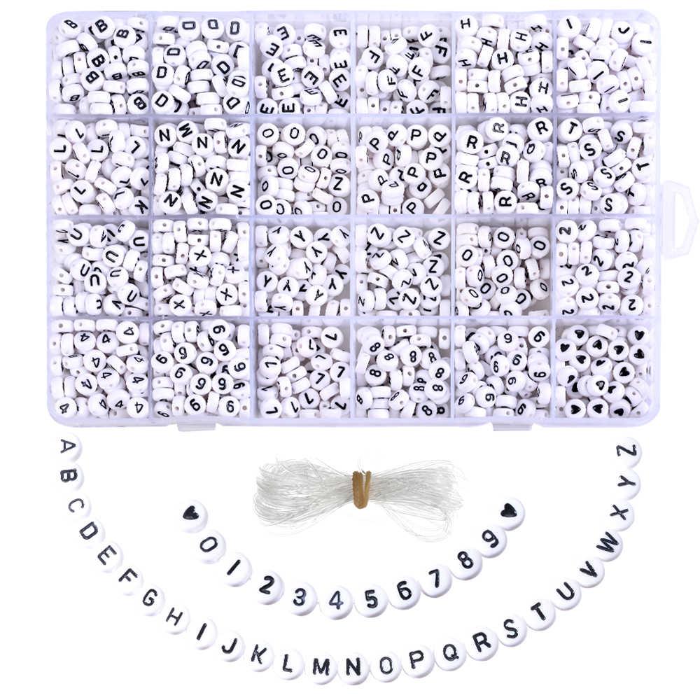 6mm Acrílico De Varios Colores ronda granos de letras para niños Llavero joyas 100 un.