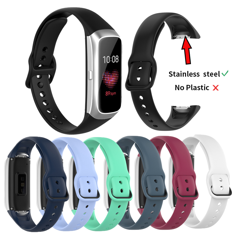 Stainless Steel Connector Sports Bracelet Strap For Samsung Galaxy Fit SM-R370 SM R370 Smart Wristband Silicone Strap Watchband