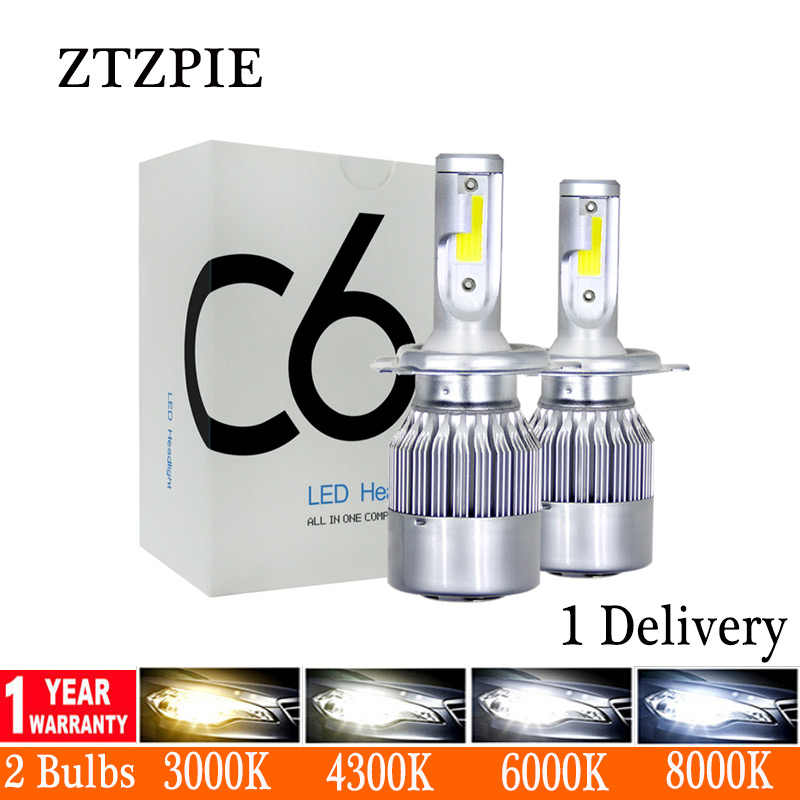 ZTZPIE 6000K 8000K 12V C6 H3 H7 H1 12000LM 9006 H13 H4 H11 Auto Headlight Led Bulbs Bullet Super Bright turbo Car Light led Lamp