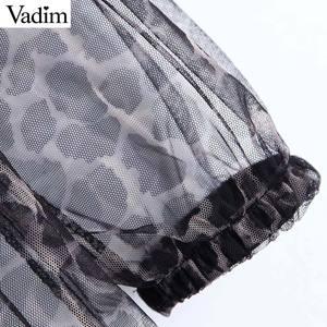 Image 5 - Vadim women two piece set leopard print dress see through long sleeve female elegant animal pattern dresses vestidos QC928