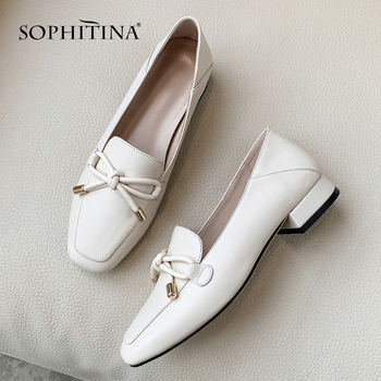 SOPHITINA Concise Women Flats Square Toe Loafers Slip-On Butterfly-Knot Decoration Shoes Cow Leather Fashion Office SO308