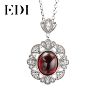EDI Vintage Gothic Garnet Pendant Necklace For Women 925 Sterling Silver Jewelry Retro Mom Wife Gift Red Oval Simulated Gemstone