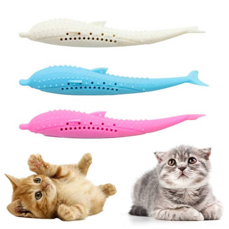 Nowe miękkie silikonowe mięta ryby zabawka dla kota kocimiętka zabawki dla zwierząt czyste zęby szczoteczka do żucia zabawki dla kotów w kształcie ryby interaktywne materiały TSLM1