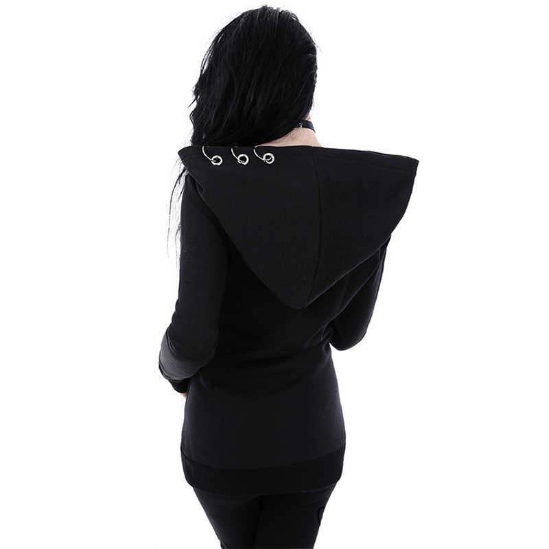 JIEZUOFANG 2019 נשים נים Ghotic פאנק ברזל טבעת חולצות סתיו חורף ארוך שרוול רוכסן שחור מעיל רוכסן גבירותיי מעיל