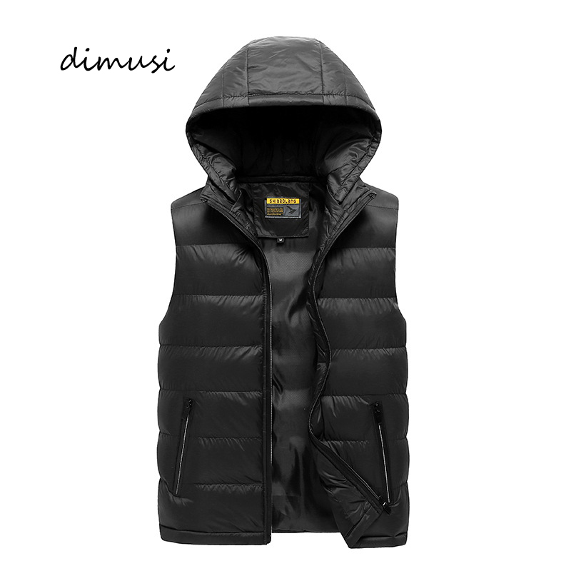 DIMUSI Winter Mens Vests Fashion Men Sleeveless Hooded Jackets Male Cotton-Padded Vests Thicken Warm Waistcoats Clothing 5XL