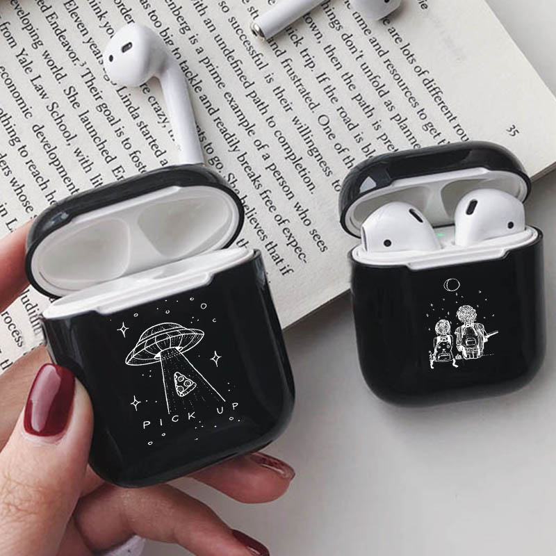 Luxury Bluetooth Headset Case For Airpods 2/1 Black Earphone Accessories Hard Airpods Case Cover UFO Pick Up Pizza Star Planet