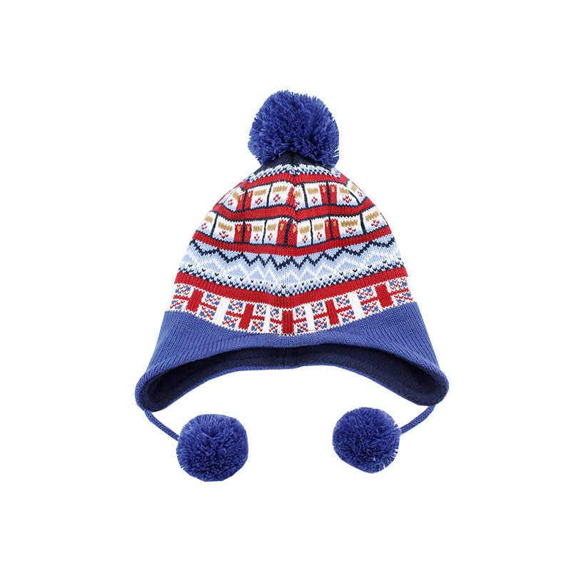 เด็กฤดูหนาวหมวกผ้าพันคอชุดเด็ก Earflap Beanie อะคริลิคขนแกะฤดูใบไม้ร่วง Warm Pompon Dobby เด็กเล่นสกีกลางแจ้งเด็กอุปกรณ์เสริม