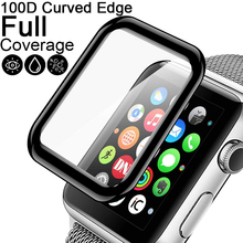 цена на 100D Curved Tempered Glass for Apple Watch Series 5 4 2 3 1 HD Screen Protector film for iWatch 38mm 40mm 42mm 44mm Full Glue