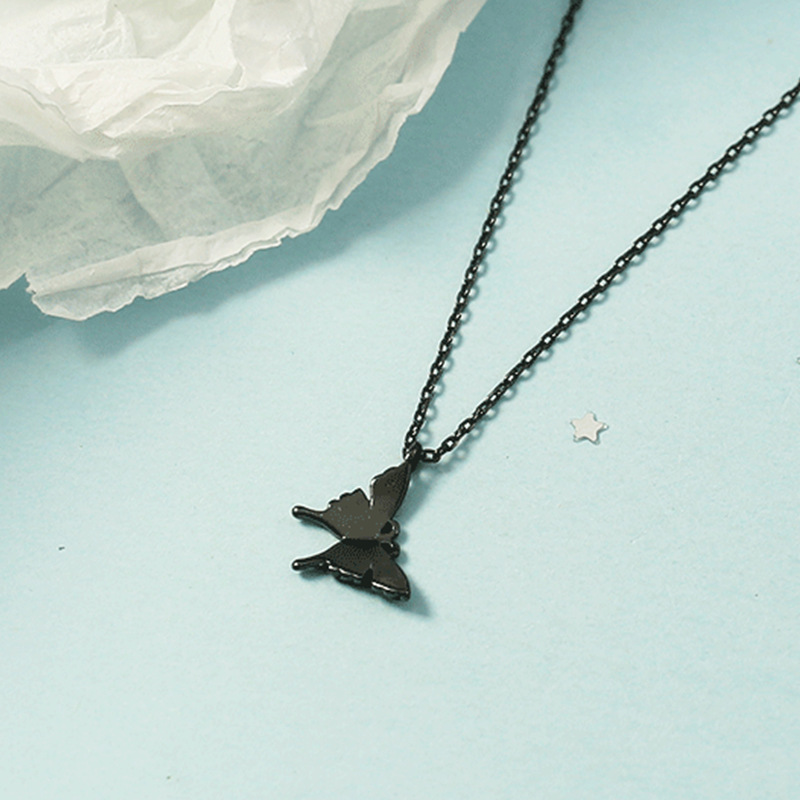 2020 New Sexy Black Color Cute Butterfly Pendant Chokers Necklace for Women Korean Fashion Chian Necklace Jewelry Gifts