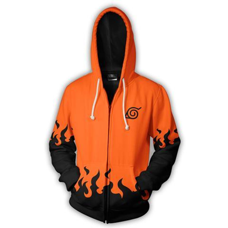 Europe And America New Style Fashion 3D Digital Printing Naruto Pullover Zipper Hooded Sweatshirt Couples Hot Selling Hoodie