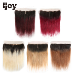 Human Hair 4x13 Lace Frontal Ombre #613/27/30/99J/Burgundy 8-20 Non-Remy Straight Frontal Brazilian Hair Extension IJOY