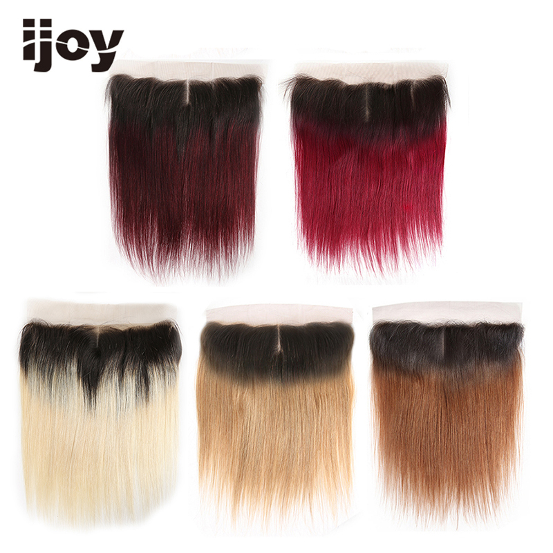 Ombre Lace Frontal Closure Straight Human Hair 13*4 Brown/613Blonde/27Honey/99J/Burgundy Red Brazilian Pre-Plucked Non-Remy IJOY