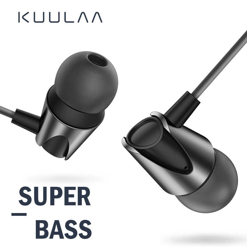 KUULAA Earphones with Microphone Wired Earbuds in Ear Deep Bass 3.5mm Jack for iPhone 6 5 Xiaomi Samsung Huawei Fone De ouvido