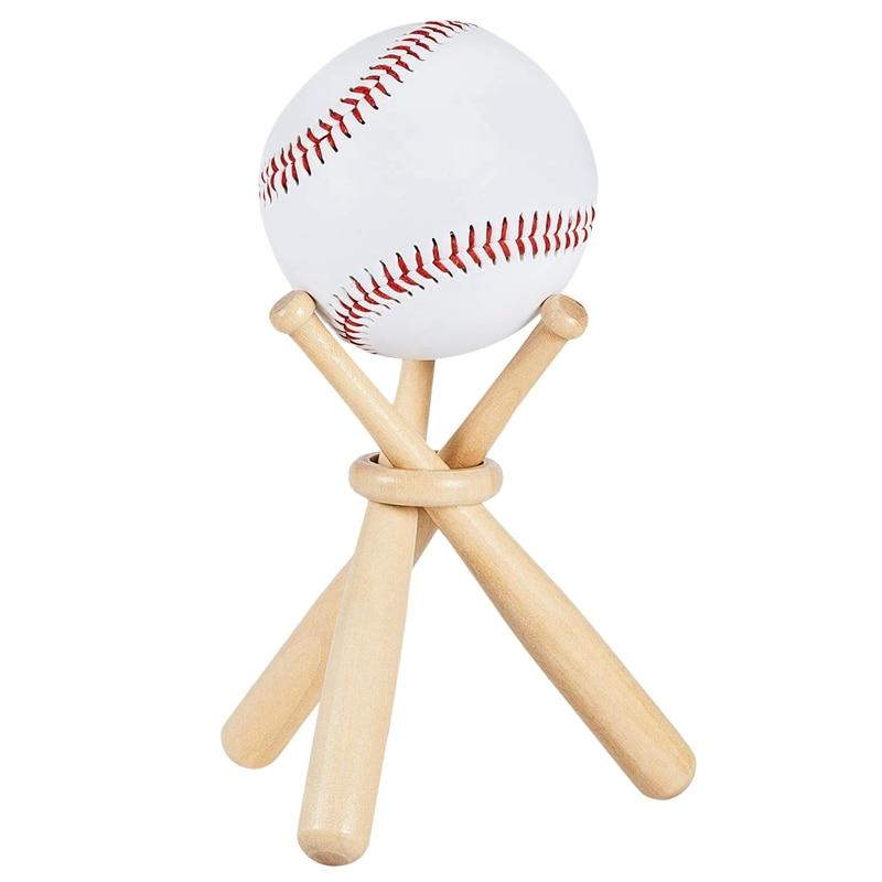 Baseball Golf Tennis Ball Display Stand Souvenir Ball Wood Holder Support-ABLD