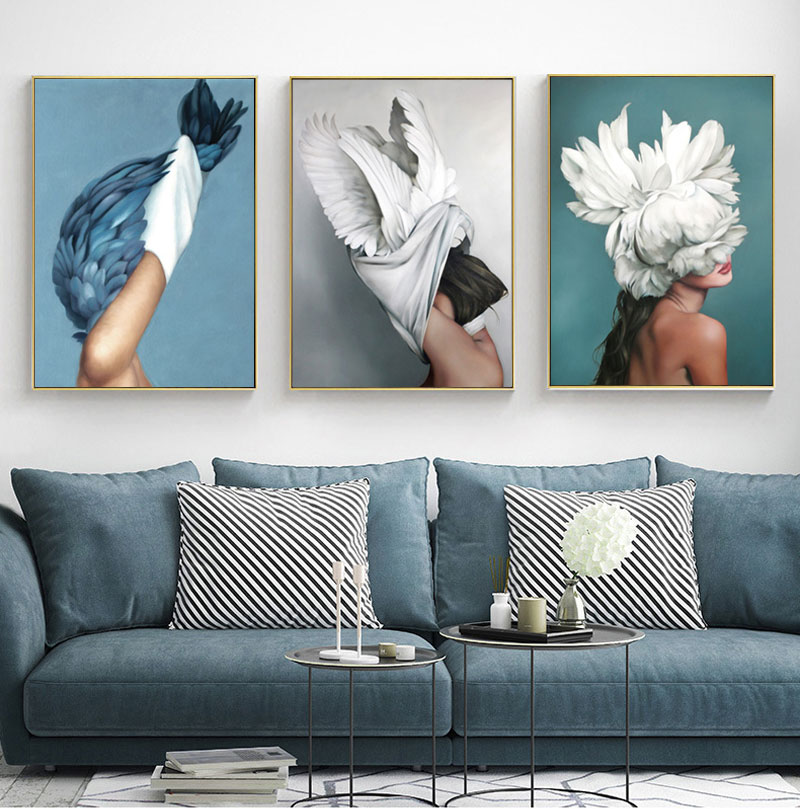 Hc4af5e0302ad4e78a177aff1a66f5e1c8 Modern Nordic Black And White Canvas Painting Art Print Wall Poster Abstract Girl Wall Pictures Wall Art for Bedroom Living Room