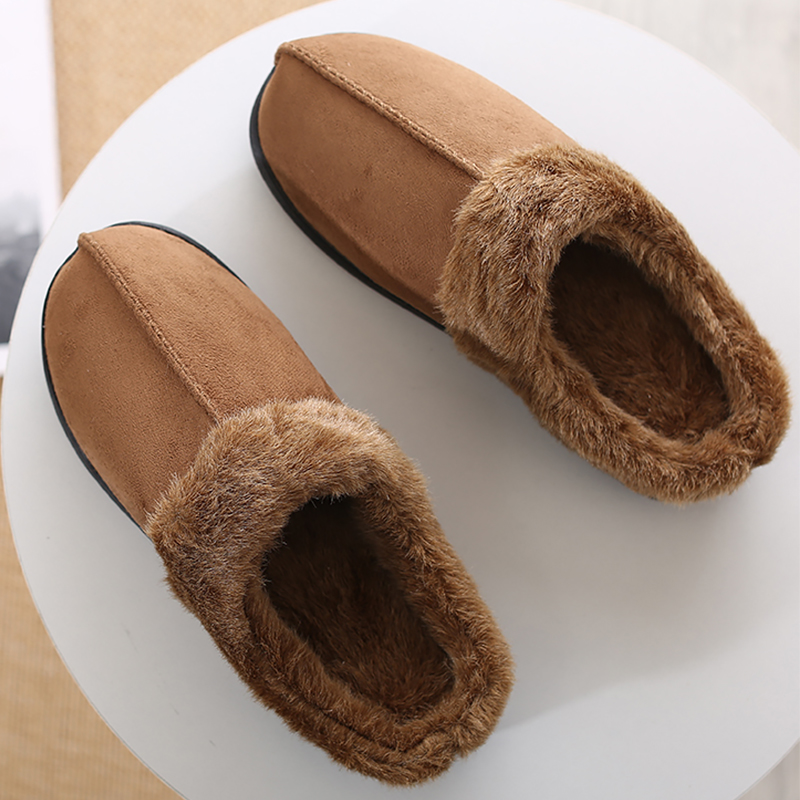 Men's Slippers Winter Velvet Short Plush Suede House Shoes For Male Soft Indoor Warm Light Weight Men Fur Slippers Man Non Slip