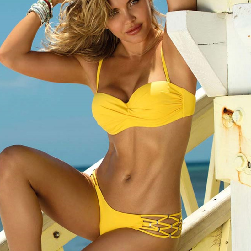 Sexy Large Swimsuit With Push Up Bikini Yellow Bathing Suit Women Swimwear Plus Size Beach Swim Wear Brazilian Female Bikinis