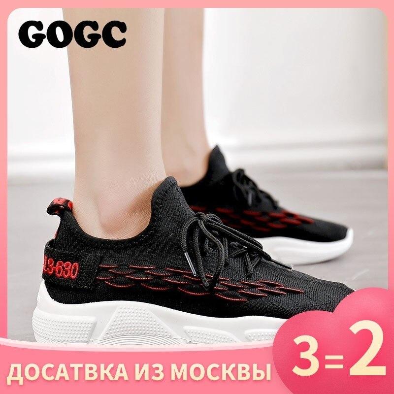 Gogc sapatos mulher tênis zapatos de mujer plataforma feminina rendas até sapato causal para mulher cesta femme chaussures sapato plano 690