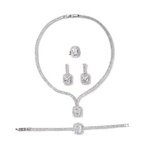 Image 5 - طقم مجوهرات HADIYANA خمر مجوهرات حفلات الزفاف مربع عقد من حجر الياقوت القرط سوار وخاتم مجموعة BN7746 Conjunto دي joyas