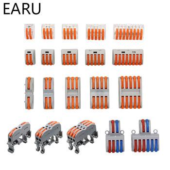 Złączki kablowe Mini Fast uniwersalne kompaktowe złącze sprężynowe złącze do przewodów wtykowe zacisk blok SPL-2 3 LED tanie i dobre opinie EARUELETRIC PCT-212 PCT-213 PCT-215 222-412 222-413 222-415 222-418
