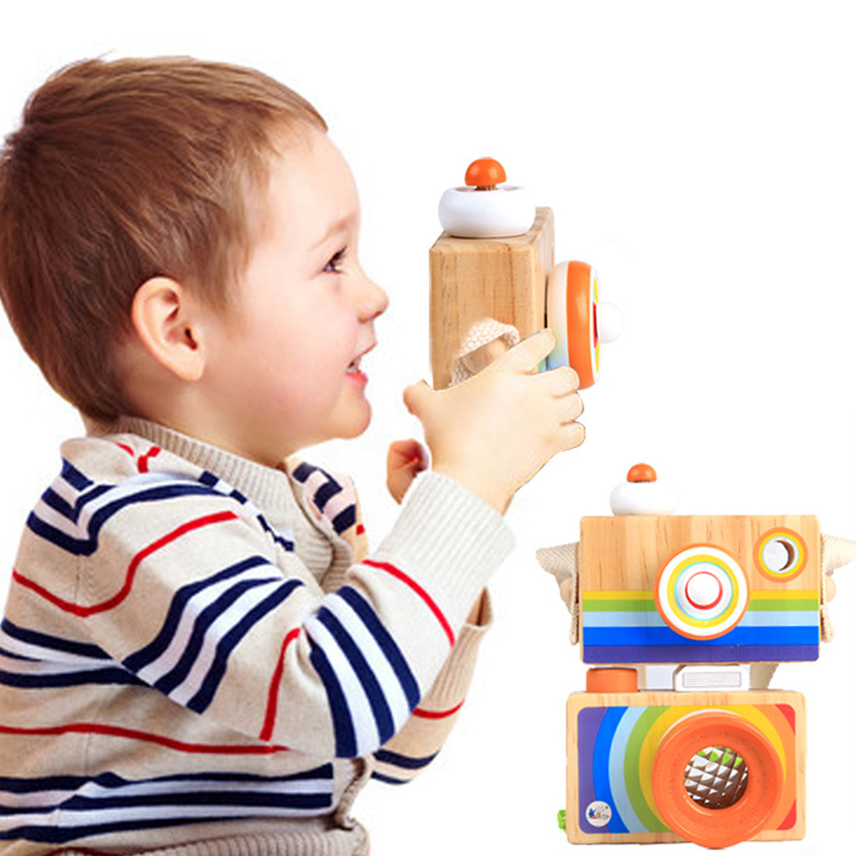 Kids Baby Nordic European Style Wooden Camera Cartoon Hanging Wood Camera Mini Kaleidoscope Cameras Furnishing Montessori Toy