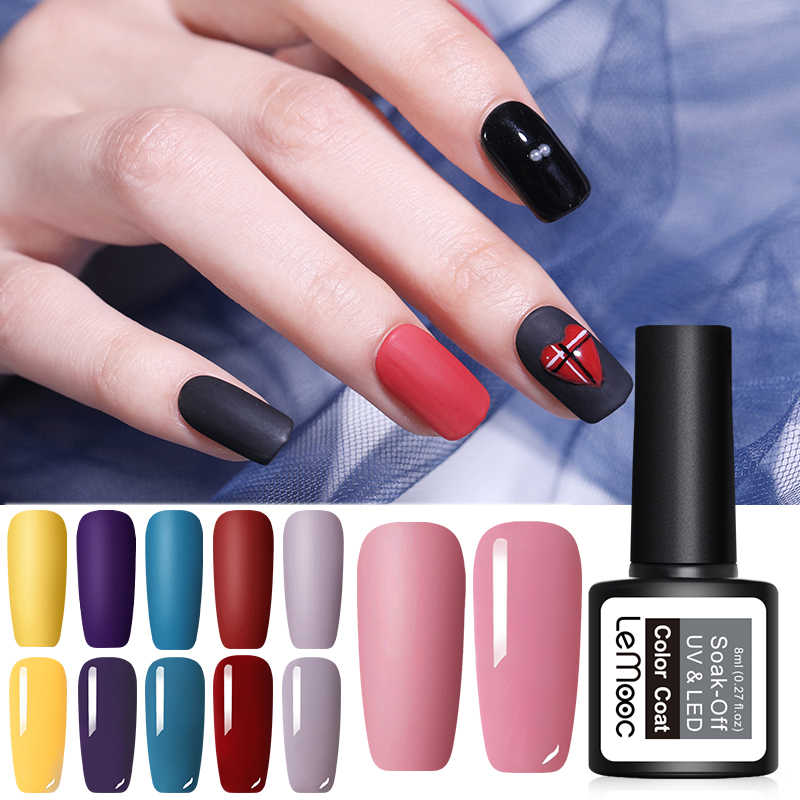 LEMOOC 8ml Matte Top Coat Color UV Gel Nail Polish Semi Permanent Soak Off UV Gel Varnish Nail Art Gel Paint for Nails Manicure