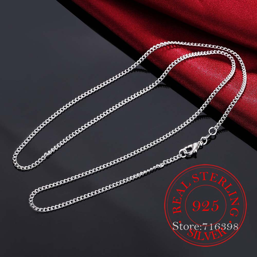 16-30inch Thin Real 925 Sterling Silver 2mm side chain Necklace Women Girls Kids Children 40-75cm Jewelry kolye collares collier 4