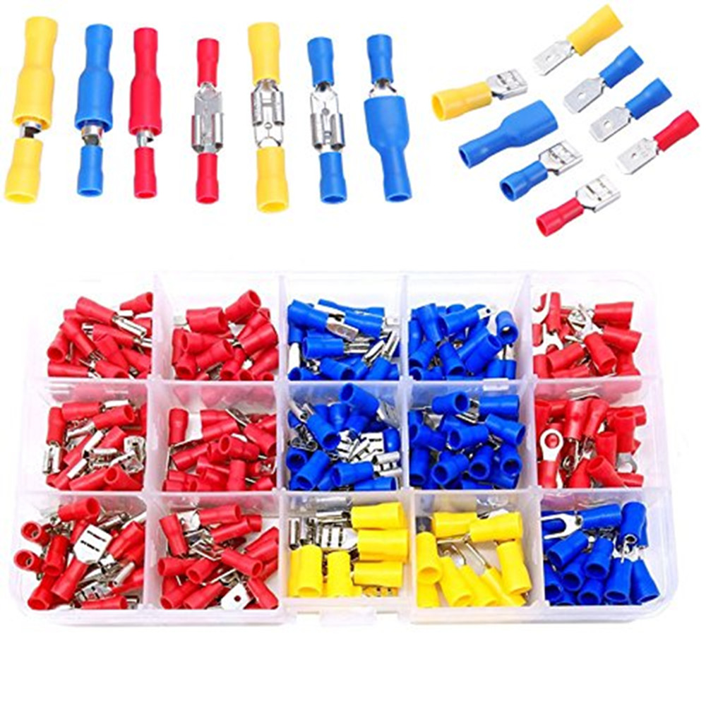 Male Female Spade Terminal Block Electric Wiring Butt Connectors Insulated Kits Cable Lugs Butt Splice Terminals Crimping Wires Connector Sets