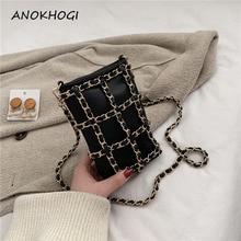 Metal zincir damalı Mini kadın telefonu çanta çanta siyah çapraz ekose bayanlar Crossbody çanta moda küçük omuz çantaları B715