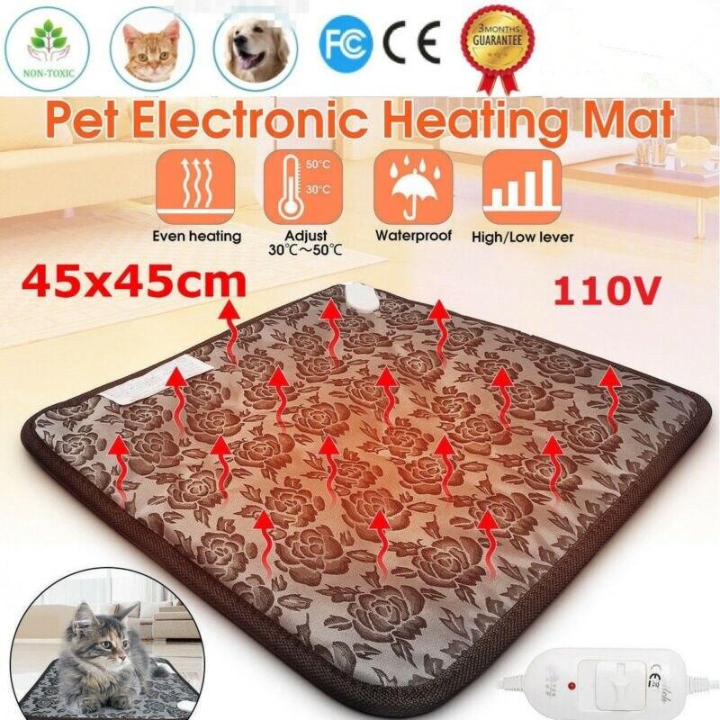 110V 50Hz coussin chauffant électrique pour animaux de compagnie Thermostat à trois vitesses chien chat hiver chaud et confortable tapis Animal matelas 45x45cm