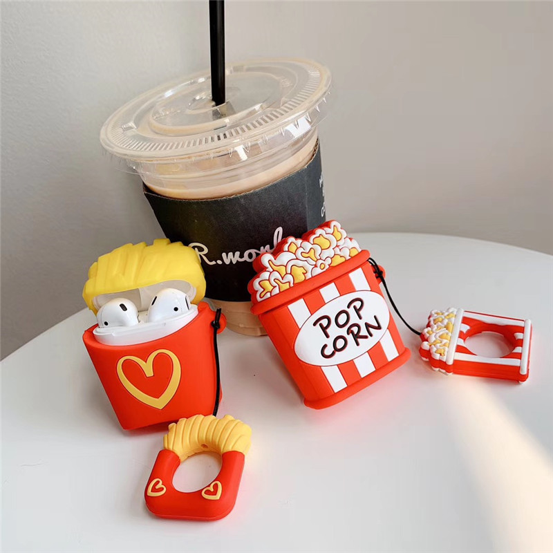 3D Cute Food Chips Popcorn Silicone Wireless Earphone Case For Apple AirPods 1 2 Bluetooth Headphone Charging Box Accessories