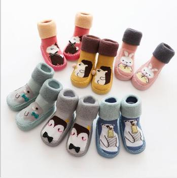 Winter new children's socks thickening terry slip baby skin floor socks to keep warm new baby toddler footwear image
