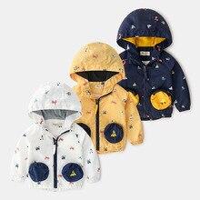New Spring Kids Windbreaker Boys Jacket Girls Cartoon car pocket Baby Outerwear Coats Baby Boys Girls Hooded Children Clothing цена 2017