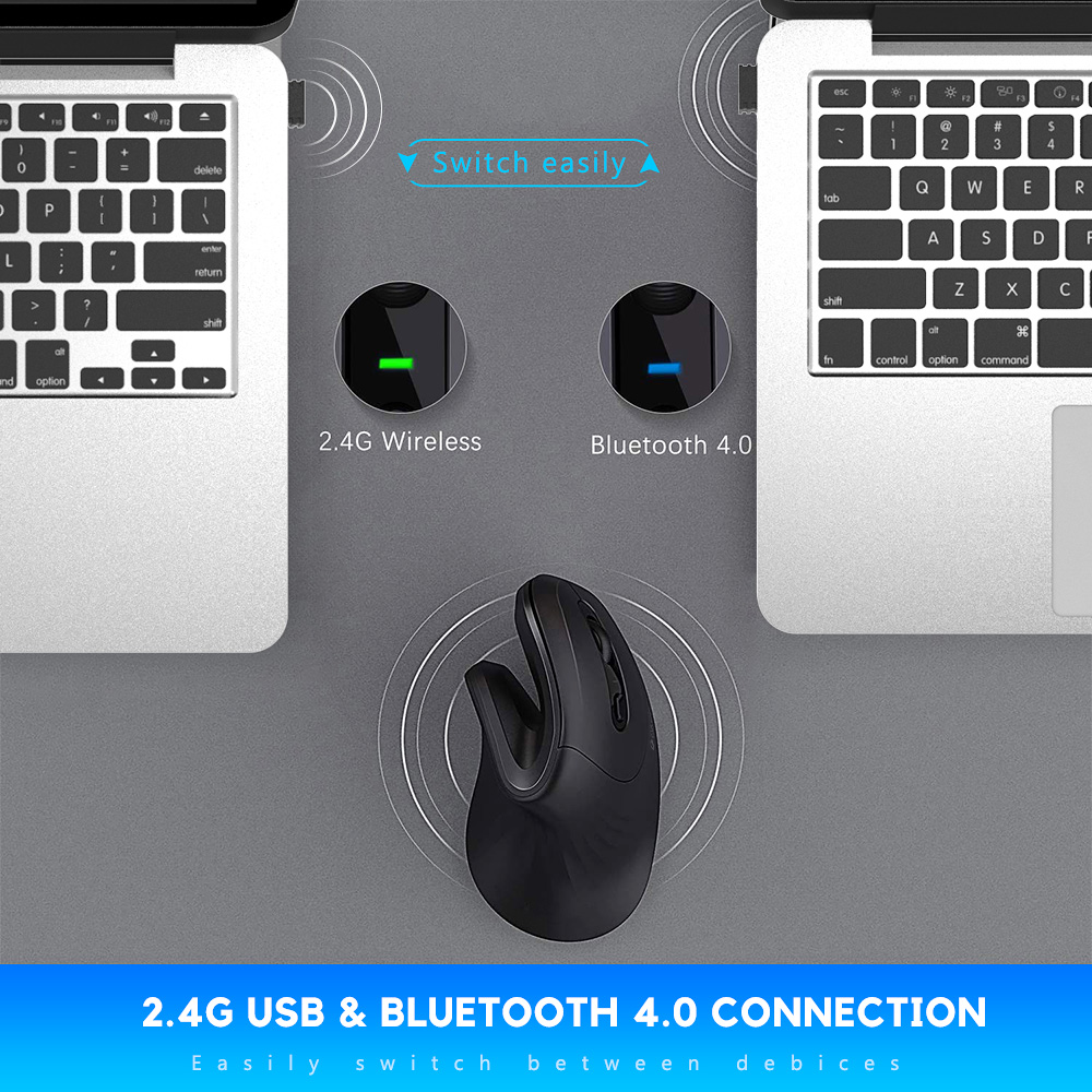 Image 4 - DAREU Magic Ergonomic Vertical Wireless Mouse Bluetooth 4.0+2.4Ghz Dual mode skin Gaming Mice with 3D scroll wheel For ComputerMice   - AliExpress