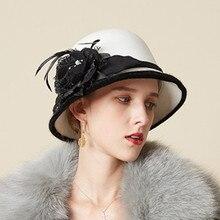 Женская элегантная шапка с перьями и цветами, теплая шапка в рыбацком стиле, многофункциональный берет, винтажные теплые вечерние и удобные черные шляпы