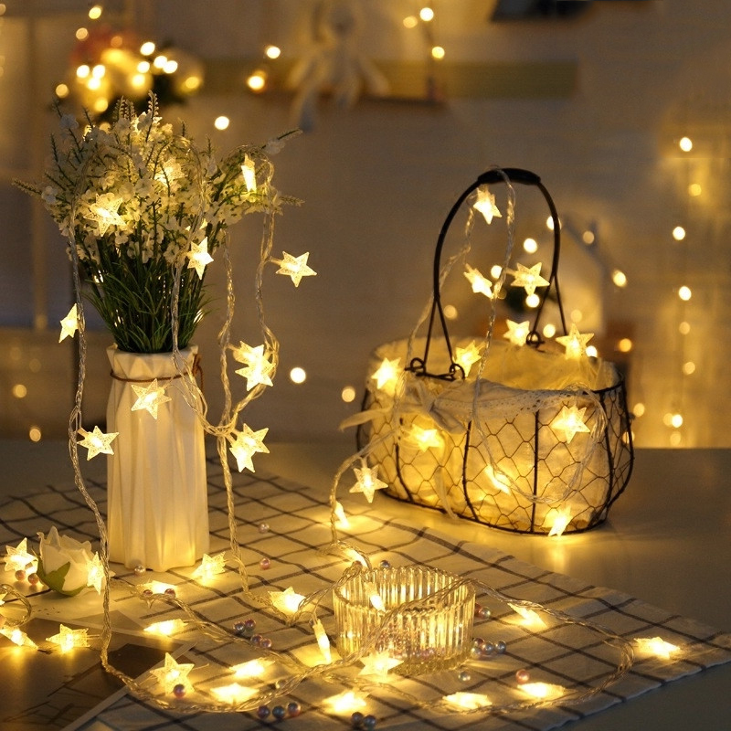 New Year Christmas Party Decor Warm White Colorful 20LED Indoor Decor String Star Fairy Lights Party Holiday garland led lamp
