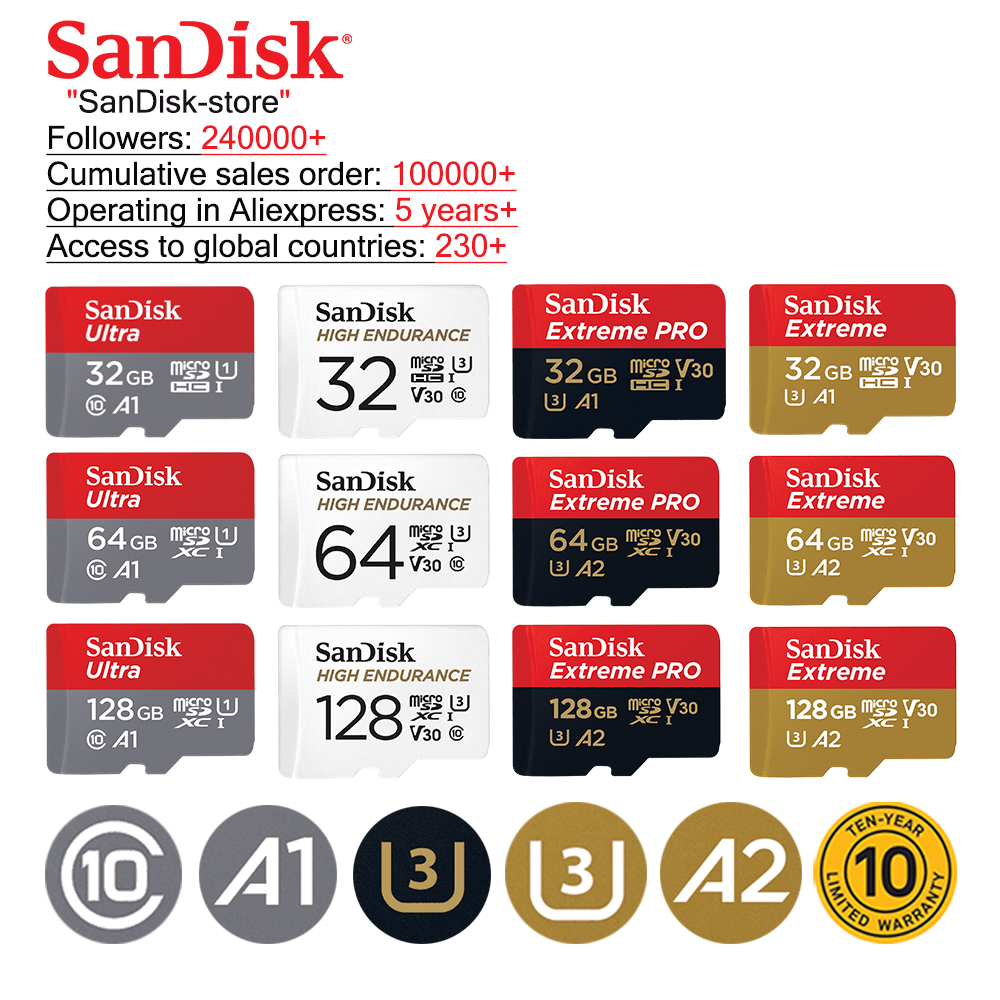SanDisk Ultra Memory Cards 16GB 32GB 64GB 128GB Micro SD Card MicroSDHC MicroSD UHS-I Tf Card A1 For Smartphone 10 Year Warranty