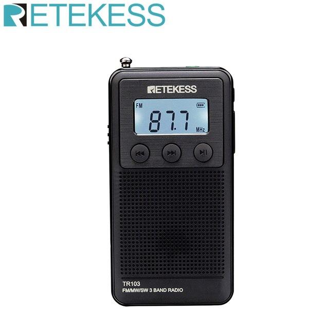 Retekess TR103 Bỏ Túi Mini Di Động Đài Phát Thanh FM / MW / SW Kỹ Thuật Số Điều Chỉnh Đài Phát Thanh 9/10Khz MP3 Âm Nhạc người Chơi Có Pin Sạc