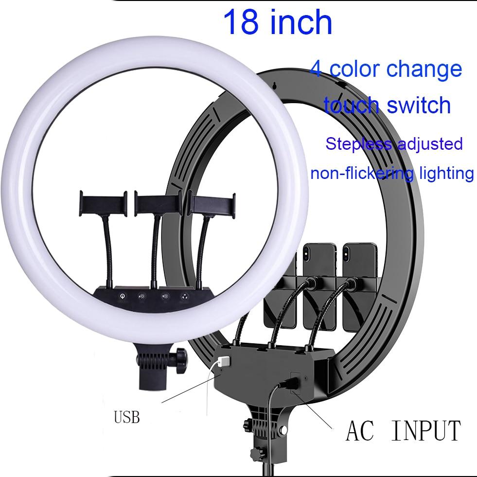 18 ''led anillo de luz 336 piezas perlas led dentro de 55w ringlight lámpara para maquillaje y trípode ligero - 4