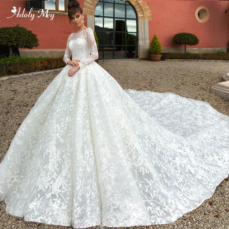 Glamorous Appliques Royal Train Lace Ball Gown Wedding Dresses 2020 Romantic Scoop Neck Beaded Long Sleeve Princess Bridal Dress
