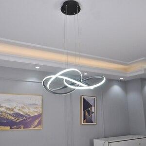 Image 2 - Black/White modern led chandelier lighting for living room bedroom restaurant kitchen pendant chandeliers home indoor lighting