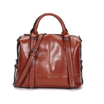 Genuine oil waxing cow leather handbag