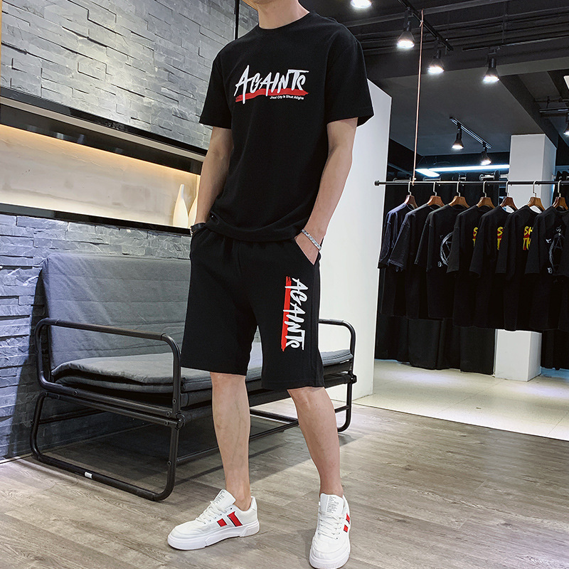 Summer New Style MEN'S Casual Pants Sports Suit Shorts 2019 New Style Short Sleeve T-shirt Ant Wrinkled Two-Piece Set