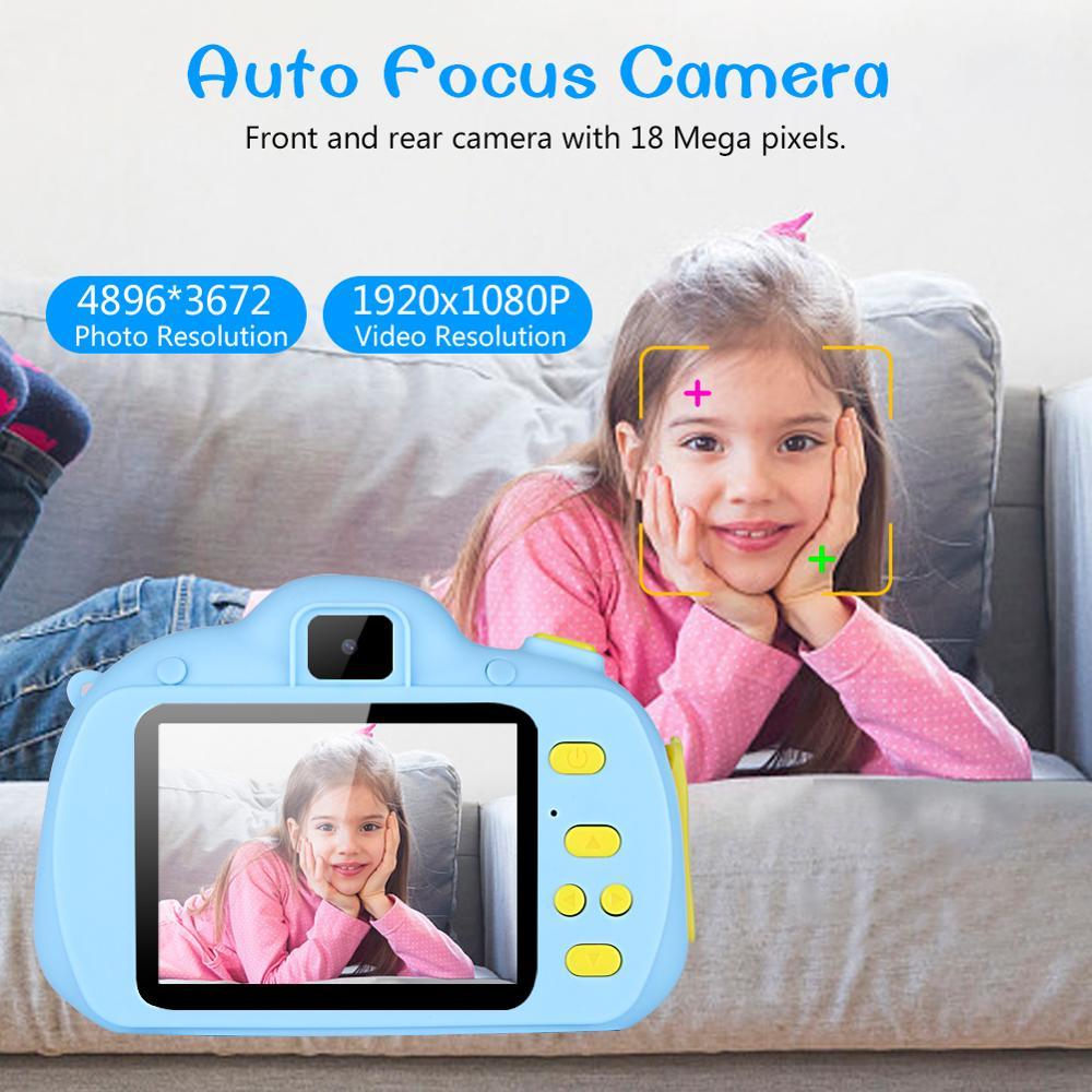 Детская камера, игрушки для детей, цифровая камера 18 МП HD с картой 32G, экран 2,4 дюйма, двойная Селфи, видео игра, видеокамера, игрушки для детей