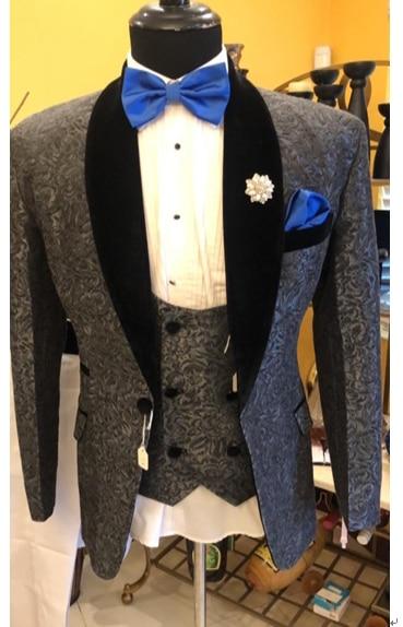 100% Real Photo Grigio Paisley Smoking Collo a Scialle Mens Wedding Dinner Party Prom Abiti Sposo (Jacket + Pants + vest + Tie) NO: 1477