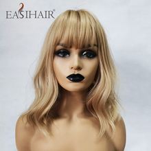 EASIHAIR Short Blonde Wave Wigs with Bangs Synthetic Wigs for Black Women Body Wavy Cosplay Wigs Heat Resistant Fiber Hair Wigs