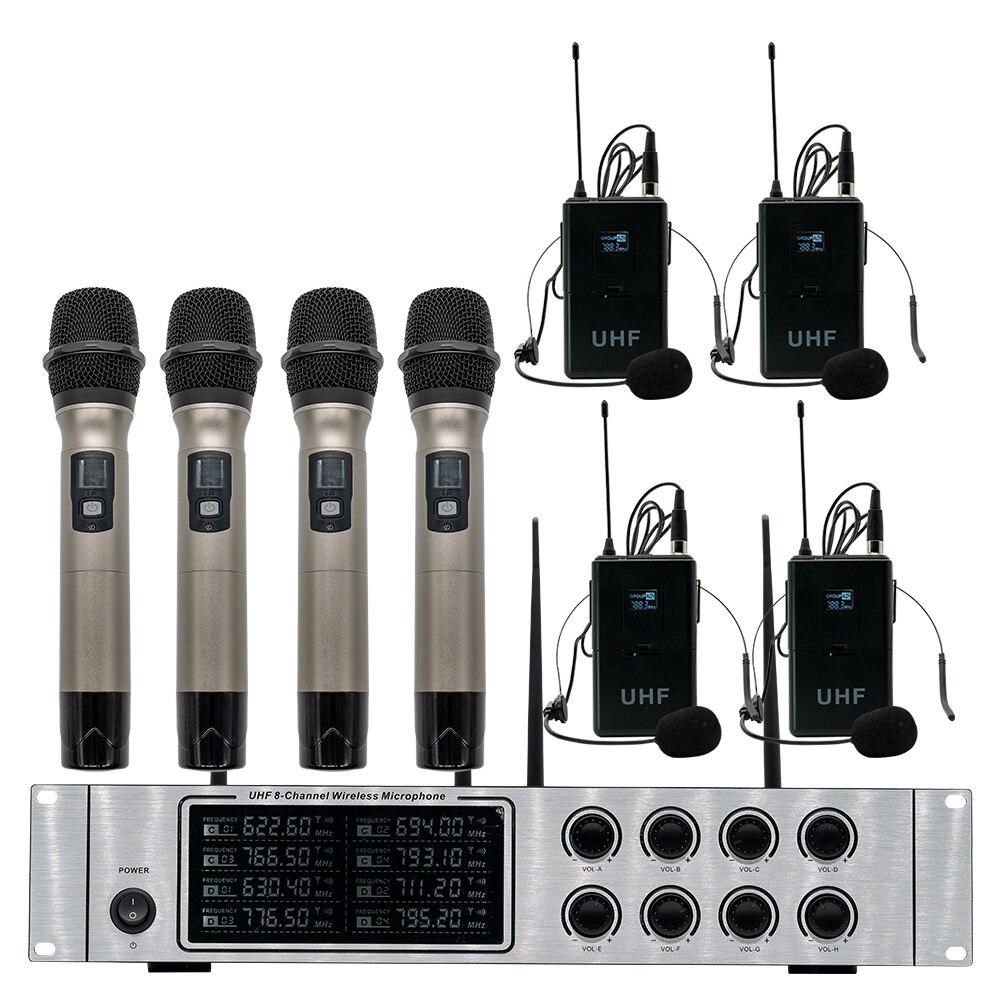 Wireless mikrofon system professional UHF kanal dynamische mikrofon 8 kanal bühne leistung lavalier mikrofon - 5