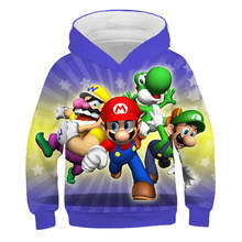 2019 New Cartoon Super mario and luigi Children Hoodies Sweatshirt Kids Pullover Boys Girls 3D Printed Clothes(China)