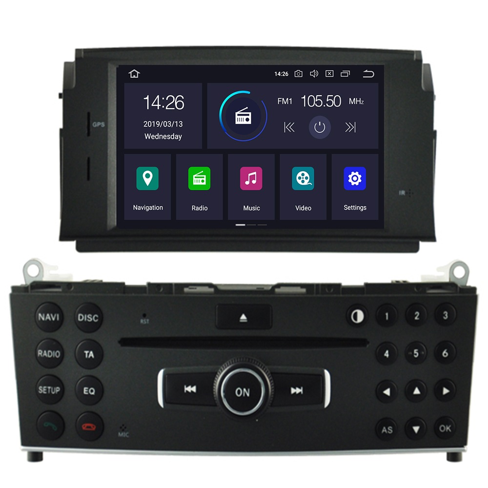 2Din <font><b>Android</b></font> 9.0 Car DVD Player For Mercedes Benz C200 C180 <font><b>W204</b></font> 2007 2008 2009 2010 Gps <font><b>Navigation</b></font> Stereo Radio Multimedia image
