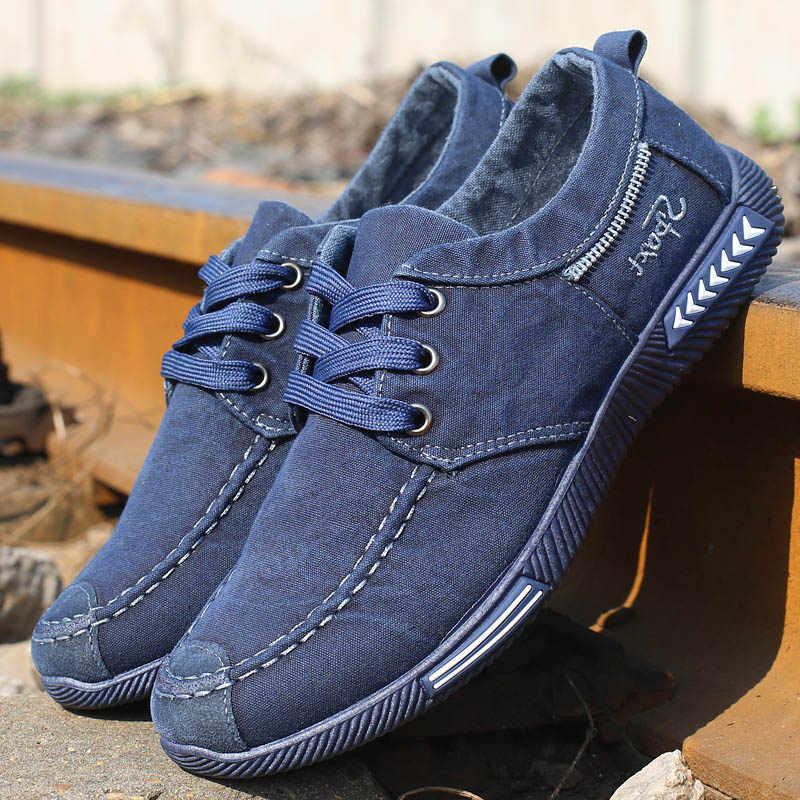 Bahar erkekler Denim kanvas ayakkabılar Lace Up erkekler rahat ayakkabılar konfor erkek mokasen ayakkabıları Sneaker erkekler Sneakers erkek ayakkabı yetişkin ayakkabı